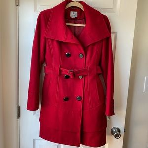 Red Ruffle Pea Coat